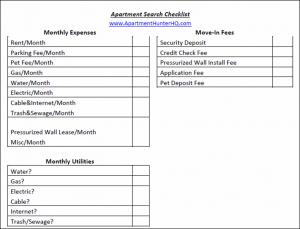 apartment search checklist download