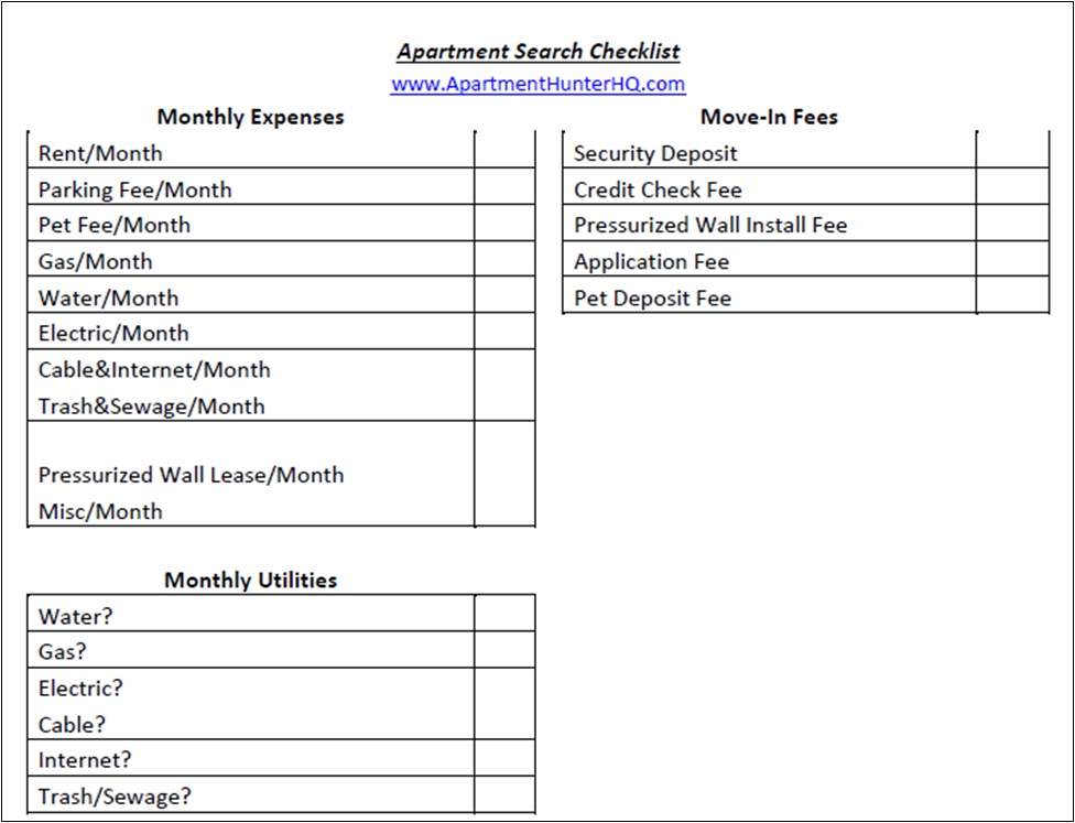 Apartment Search Checklist Download